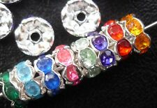 100Pcs Silver Mixed Plated Crystal Spacer Beads 8mm
