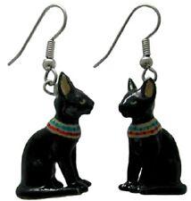 JE093 - Egyptian Cat  Surgical Steel Dangle Earrings -Little Critterz
