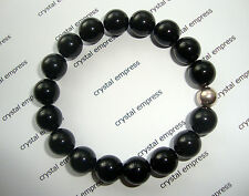 FENG SHUI - 8MM BLACK ONYX MALA BRACELET WITH 925 SILVER BEAD