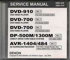 NEW Genuine DENON Service Manuals on cd: DVD-700 910 DP-500M/1300M AVR-1404/484