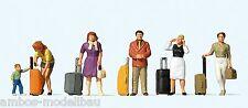 Preiser 10641 H0 Stehende Reisende mit Trolleys, 6 Figuren, handbemalt, Neu