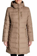 $250 MICHAEL KORS HOODED DOWN & FEATHER QUILTED COAT JACKET SZ M MEDIUM TRUFFLE