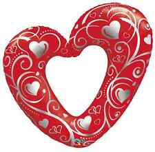 "42"" SUPERSHAPE FOIL BALLOON ""HEARTS & FILIGREE RED"" WEDDING ANNIVERSARY"
