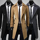 Men's Long Jacket Double Breasted Outwear Coat Overcoat Woolen Slim Fit Trench