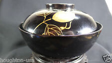 Antique Japanese Black Lacquer Soup Bowl w/GOLD Wisteria & Dragonfly Lid