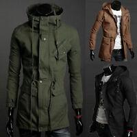 Parka Trenchcoat Männer HERREN Hoodie Mantel lange Jacke Kapuzen Winterjacke