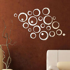 Thick Silver Tone Acrylic 3D Mirror Wall Sticker Circle Mural Art Home Decor Set