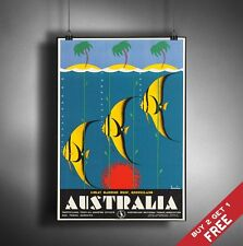 A3 Large AUSTRALIA POSTER Vintage Retro Travel Wall Art Home Decor FISH Picture
