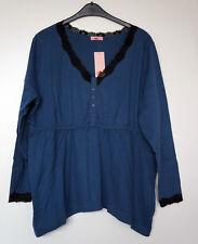 NEU Übergröße schickes Damen Langarm Shirt blau in trendy Zipfelform  Gr.48/50