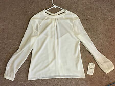 ZARA TIE-NECK EMBROIDERED BLOUSE (size S)