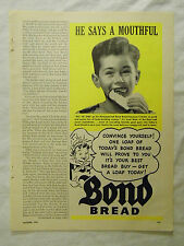 1949 Magazine Ad Page Featuring Bond Bread Kid Boy Eating Bread Vintage Ad