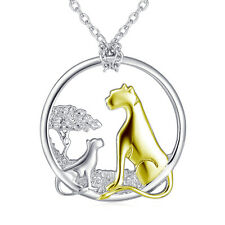 18K Gold Cute Mom and Kid Leopard with Tree Necklace Pendant 925 Sterling Silver