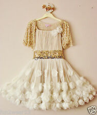 BNWT MONSOON GIRLS IVORY GOLD SEQUIN ROSIE CASCADE TULLE ROSE PARTY DRESS 11 Yrs