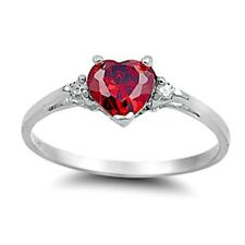 .925 Sterling Silver Ring size 3 CZ Heart cut Ruby Red Midi Kids Ladies New x29