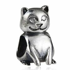CAT FELINE solid 925 sterling silver charm bead fits european bracelet