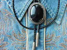 NEW HANDCRAFTED BLACK ONYX  BOLO TIE LEATHER CORD SILVER METAL,WESTERN,GOTH