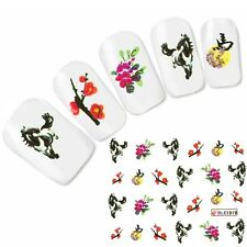 Tattoo Nagel Sticker Aufkleber Blumen Japan Pferd Horse Nail Art Nägel Fuß