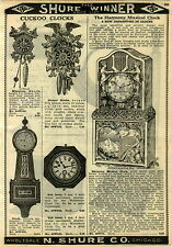 1924 PAPER AD The Harmony Musical Clock Metal Case Wagner Beethoven Lady Harp