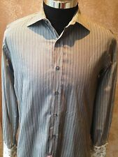 Paul Smith Gray Striped French Cuff Dress Shirt Sz. 38/15 Medium