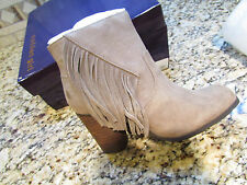 NEW MADDEN GIRL DESCENT TAUPE ANKLE BOOTES BOOTS WOMENS 8.5 W/ FRINGE FREE SHIP
