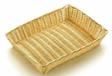 RECTANGLE POLY RATTAN BUFFET BASKET DISPLAY BREAD ROLLS CROISSANT FOOD 30cm