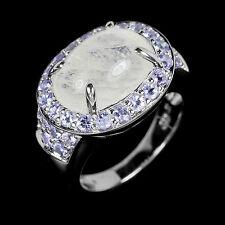Eleganter 925 Silber Ring mit Mondstein & Tansanit   Gr 55 (Ø 17,7 mm)