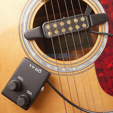 Piezo Pickup pour Guitare Acoustique Magnetic Preamp EQ Equalizer Tuner QH-6A