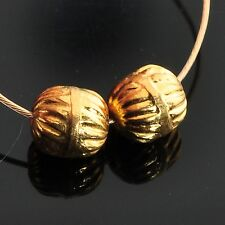 18k Solid Yellow Gold Pumpkin Spacer Findings Beads PAIR