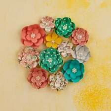 "Prima Bloom Flower Sun Kissed 1.25""- 1.75"", 12 Pieces pearl centers"