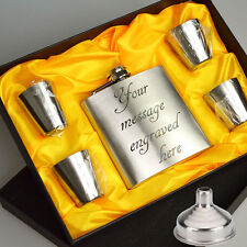 Personalised Engraved 6oz Hip Flask Whisky Holder Gift Box & Drink Cups + Funnel