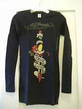 ED HARDY Womens Black TRUE LOVE Long Sleeve T-Shirt Size XS NEW w/Tags NWT