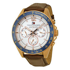 Tommy Hilfiger Luke Multi-Function White Dial Brown Leather Mens Watch 1791118