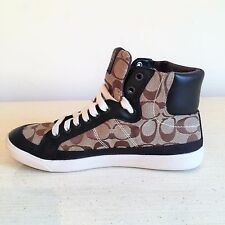 AUTH Coach Women's Signature High Top Fashion Sneakers, Shoes Khaki Black SZ 8