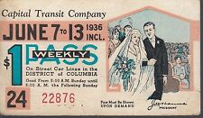 Trolly/Bus pass capital Transit Wash. DC--1936 Weading-----10