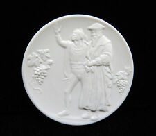 RARE Meissen Germany Crossed Swords White Bisque Porcelain Plaque Medallion Coin
