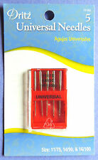 Dritz 5 UNIVERSAL Needles SIZE 14/90,11/75 &16/100 for all HOME Sewing Machines