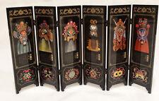 "Chinese Miniature Black Laquer Screen"" Facial Makeup of Peking Opera"",18.5 x 8.5"