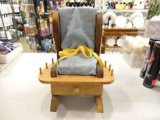 Vintage WoodenTiny Rocking Chair Pin Cushion Holds Thread Needles Pin W/DRAWER