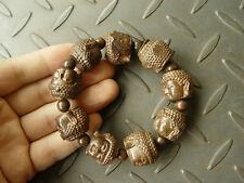 Natural Agarwood Eaglewood Chenxiang woodcarving Buddha Bead Bracelet Bangle W86