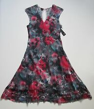 NWT KOMAROV Abstract Floral Print V-Neck Keyhole Lace Back A-Line Dress L $289