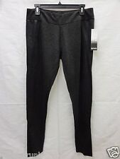 Kensie Faux Leather Trim Leggings, Heather Charcoal Combo, XL