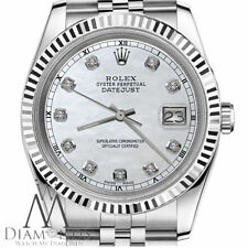 Steel Rolex Ladies 26mm Datejust 18K White Gold Natural Pearl Diamond Numbers