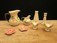 Lot 8 Franciscan Desert Rose Pieces Pitcher Creamer Shaker Candle Stick Holders