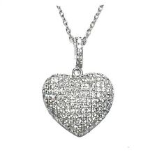 NEW  PAVE  PUFFED HEART CLEAR CUBIC ZIRCONIA  PENDANT NECKLACE 24MM -16 TO 18""
