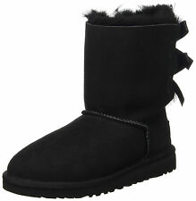 UGG Meilani Black Sheepskin Suede Bow Winter Boots Shoes DISPLAY 8 NEW NIB $215