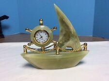 Green Marble Sail Boat Quartz Clock