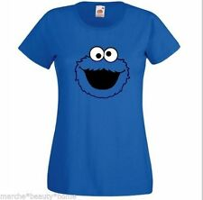 Lady Fit Mujer Cookie Monster Xl Dama Fit T-Shirt Retro Top Xl Poste LIBRE
