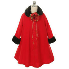 White Style Jacket Coat Fur Fleece Trim Winter Fall A-Line Flower Girl Dresses