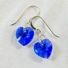 Sterling Silver Drop Earrings Swarovski Elements Crystal Sapphire Blue AB Heart