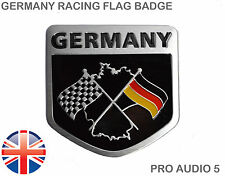 Germany Racing Flags Badge - Brushed Aluminium - German Car Van Boot VW Audi UK